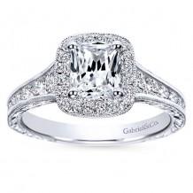 14k White Gold 0.67ct Diamond Gabriel & Co Halo Semi Mount Engagement Ring