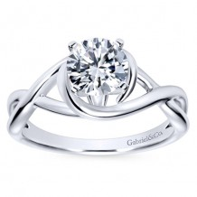 14k White Gold Gabriel & Co Criss Cross Semi Mount Engagement Ring