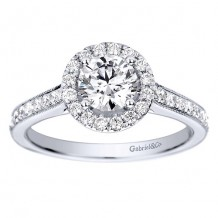 14k White Gold 0.39ct Diamond Gabriel & Co Halo Semi Mount Engagement Ring