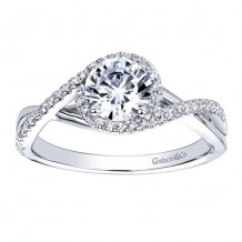 14k White Gold 0.14ct Diamond Gabriel & Co Criss Cross Semi Mount Engagement Ring