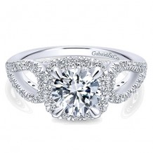 14k White Gold 0.75ct Diamond Gabriel & Co Halo Semi Mount Engagement Ring