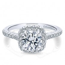 14k White Gold 0.64ct Diamond Gabriel & Co Halo Semi Mount Engagement Ring