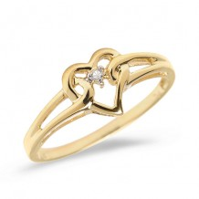 10K Yellow Gold Diamond Heart Ring