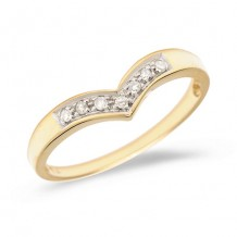 10K Yellow Gold Diamond Chevron Ring