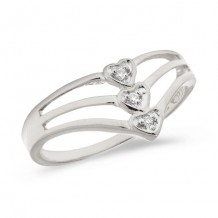 10K White Gold Diamond Heart Ring