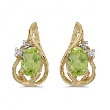 10k Yellow Gold Oval Peridot And Diamond Teardrop Earrings