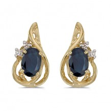 10k Yellow Gold Oval Sapphire And Diamond Teardrop Earrings