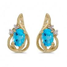 10k Yellow Gold Oval Blue Topaz And Diamond Teardrop Earrings