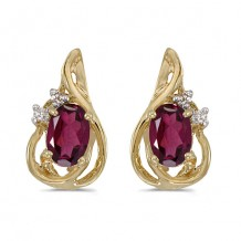 10k Yellow Gold Oval Rhodolite Garnet And Diamond Teardrop Earrings