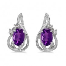 10k White Gold Oval Amethyst And Diamond Teardrop Earrings
