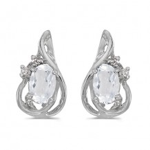 10k White Gold Oval White Topaz And Diamond Teardrop Earrings