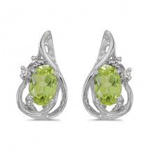 10k White Gold Oval Peridot And Diamond Teardrop Earrings