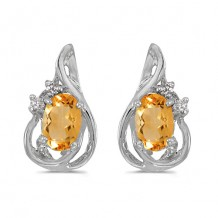 10k White Gold Oval Citrine And Diamond Teardrop Earrings