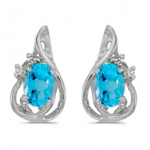 10k White Gold Oval Blue Topaz And Diamond Teardrop Earrings