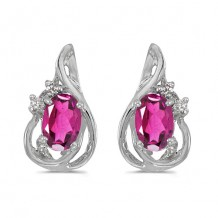10k White Gold Oval Pink Topaz And Diamond Teardrop Earrings
