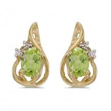 14k Yellow Gold Oval Peridot And Diamond Teardrop Earrings