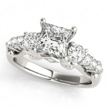 Overnight 18k White Gold Diamond Engagement Ring
