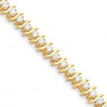 Quality Gold 14k Yellow Gold & Diamond Tennis Bracelet
