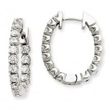 Quality Gold 14k White Gold & Diamond Hinged Hoop Earrings