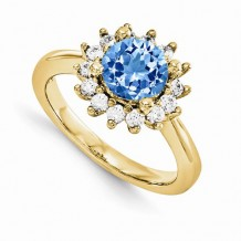 Quality Gold 14K Yellow Gold & Diamond Semi-Mount Gemstone Ring