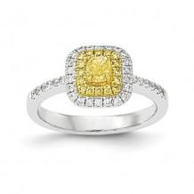 Quality Gold 14k Two-Tone Fancy Yellow Diamond Ring