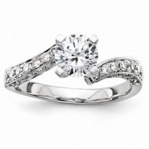 Quality Gold 14k White Gold Semi-Mount Diamond Engagement Ring