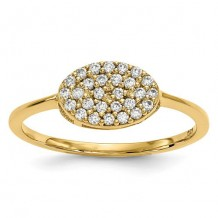 Quality Gold 14k Yellow Gold Diamond Cluster Oval Ring