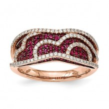 Quality Gold 14k Rose Gold Diamond & Ruby Fancy Undercarriage Ring