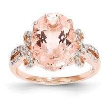 Quality Gold 14k Rose Gold Diamond And Morganite Oval Ring