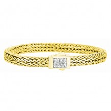 18kt Yellow Gold 7 Inch 6mm Square Dimension Wheat Bracelet with 0.24ct. White Diamond Studded Flat Box Clasp