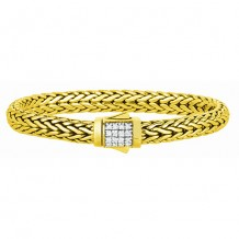 18kt Yellow Gold 7 Inch 6mm Domed Wheat Bracelet with 0.32ct. White Diamond Studded Domed Box Clasp
