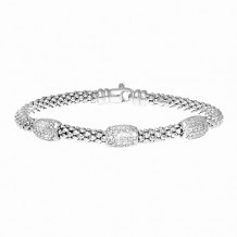 Sterling Silver 7 Inch Rhodium Finish 4.4mm PopCorn Bracelet with Lobster Clasp and 3 Station Barrel with 18 -0.10ct White Diamond