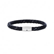 Sterling Silver 8 Inch Rhodium Finish Shiny Black Weaved Cow Leather Bracelet With 1-Sapphire on Barrel Magnetic Clasp