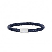 Sterling Silver 8 Inch Rhodium Finish Shiny Blue Weaved Cow Leather Bracelet With 1-Sapphire on Barrel Magnetic Clasp