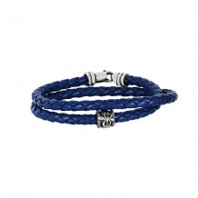 Navy Blue Leather 8 Inch 4mm Braided Round Wrap ARound Bracelet with Oxidized Silver Clasp with Fleur De Lis Symbol