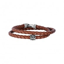 Tan Leather 8 Inch 4mm Braided Round Wrap Around Bracelet with Oxidized Silver Clasp with Fleur De Lis Symbol