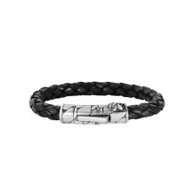 Black Leather 8 Inch 8mm Braided Round Bracelet with Oxidized Silver Clasp with Fleur De Lis Symbol