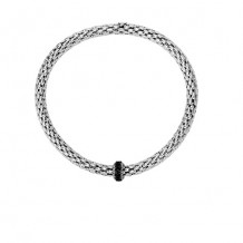 Sterling Silver with Rhodium and Black Rhodium Finish 8-4.5mm Shiny Stretchable Popcorn Bracelet with 2mm Round Cut Semiprecious 0.4ct. Black Spinel Barrel Element