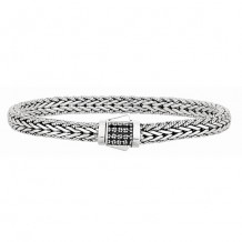 Sterling Silver 7 Inch Oxidized Weave Bracelet with 1.7mm Black Sapphire Center Cluster and Fancy Box Clasp