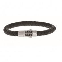 Sterling Silver 7 Inch 7mm Round Weave Black Leather Bracelet with and 1.9mm Black Sapphire Round Center Cluster and Box Clasp