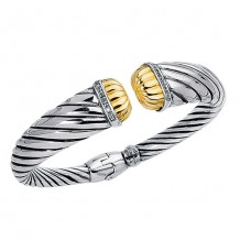 0.12ct. Diamond 18kt Yellow Gold and Sterling Silver Oxidized Ridged Cuff Bangle.
