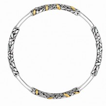 18kt Yellow Gold and Sterling Silver Oxidized Dragonfly Round Tube Stationed Slip-on Bangle.