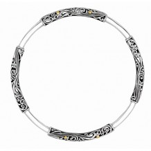 18kt Yellow Gold and Oxidized Silver Round Tube Byzantine Slip on Bangle