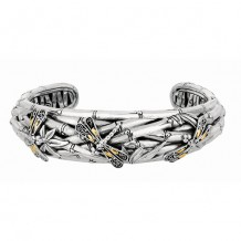 18kt Yellow Gold and Sterling Silver Oxidized Dragonfly Bamboo Narrow Cuff Bangle.
