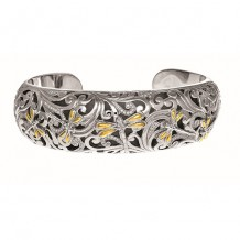 18kt Yellow Gold and Oxidized Sterling Silver 0.59ct. Diamond Dragonfly Wider Cuff Bangle