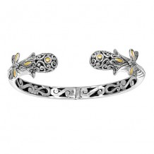 18kt Yellow Gold and Silver with Oxidized Finish Shiny 13-6mm Snake Head Type Graduated Fancy Dragonfly Hinge Cuff Bangle