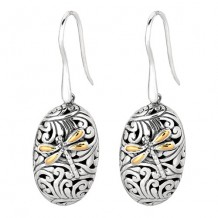 18kt Yellow Gold and Sterling Silver Oxidized Dragonfly Oval Drop Earrings.
