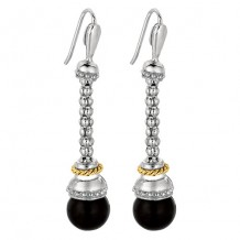 18kt Yellow Gold and Sterling Silver Black Onyx Drop Popcorn Earring.