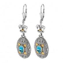 18kt Yellow Gold and Sterling Silver Oxidized Oval Blue Topaz Fluer De Lis-Byzantine Drop Drop Earrings.