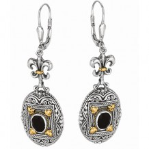 18kt Yellow Gold and Sterling Silver Oxidized Oval Black Onyx Fluer De Lis-Byzantine Drop Drop Earring.